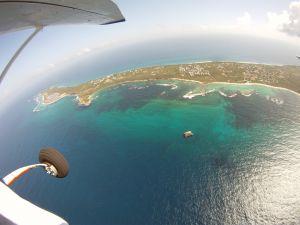 Vue avion saut en parachute